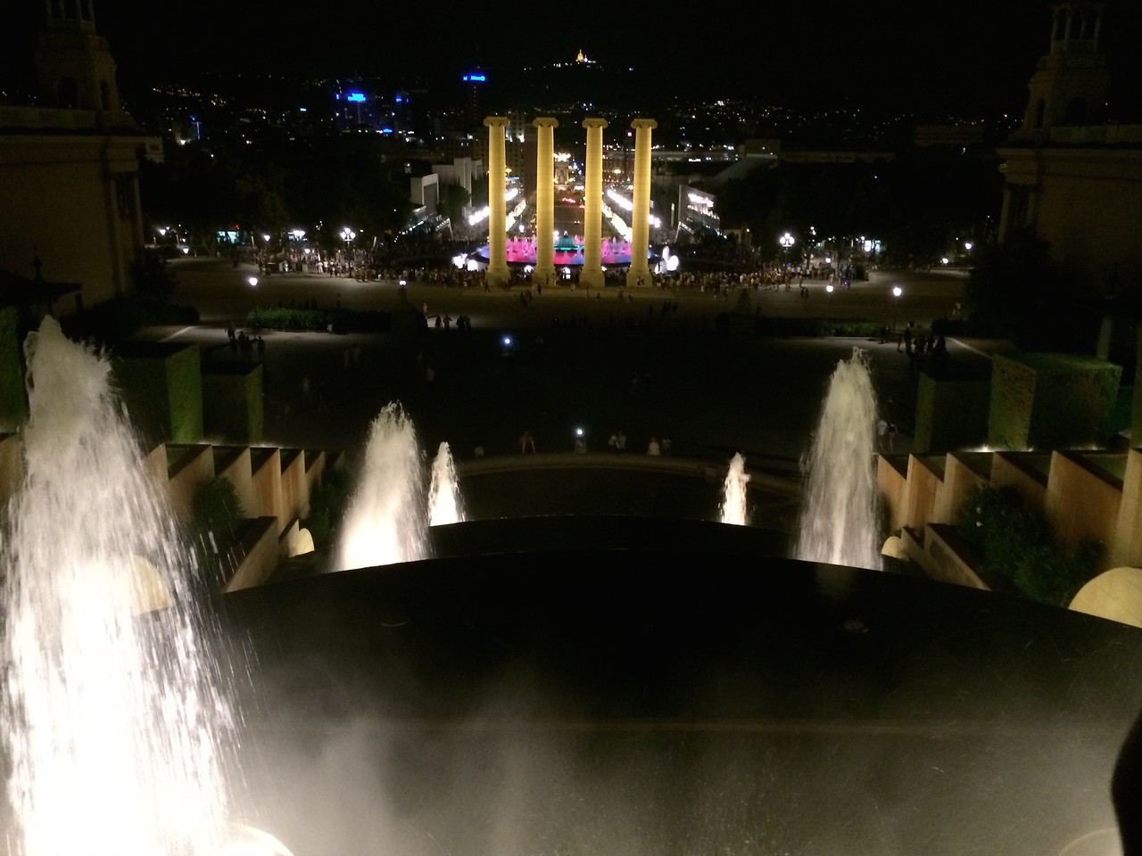 View from the top of the fountains below.